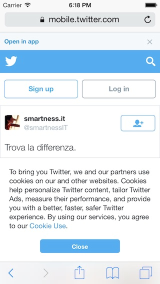 Twitter cookie law disclaimer