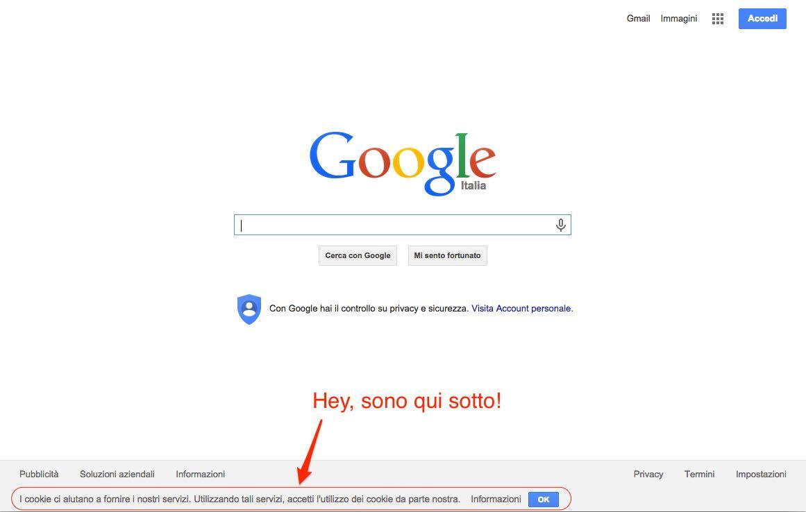 Google.it cookie banner