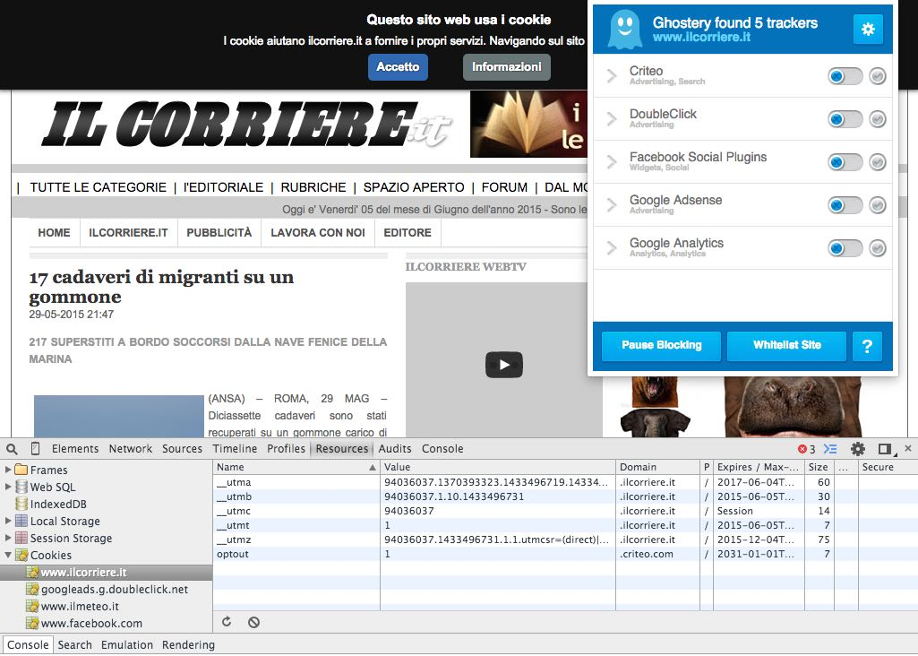 il corriere cookie banner