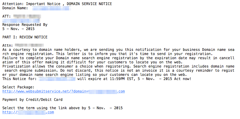 Phishing attack domain search engine registration
