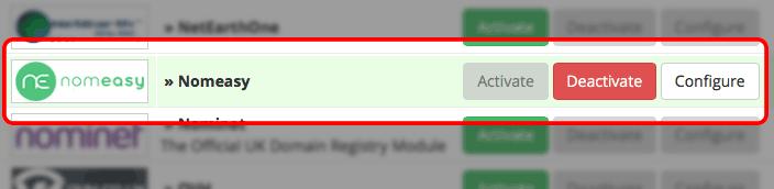 WHMCS Nomeasy Registrar Module list