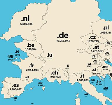 mappa geografica di Internet dettaglio .DE
