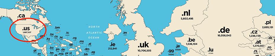 mappa geografica di Internet dettaglio .US