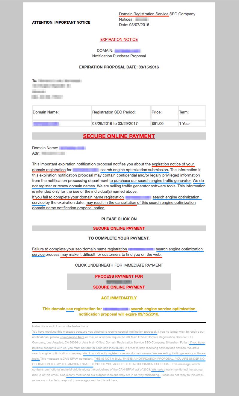 Attenzione alle email di Domain Registration Service SEO Company