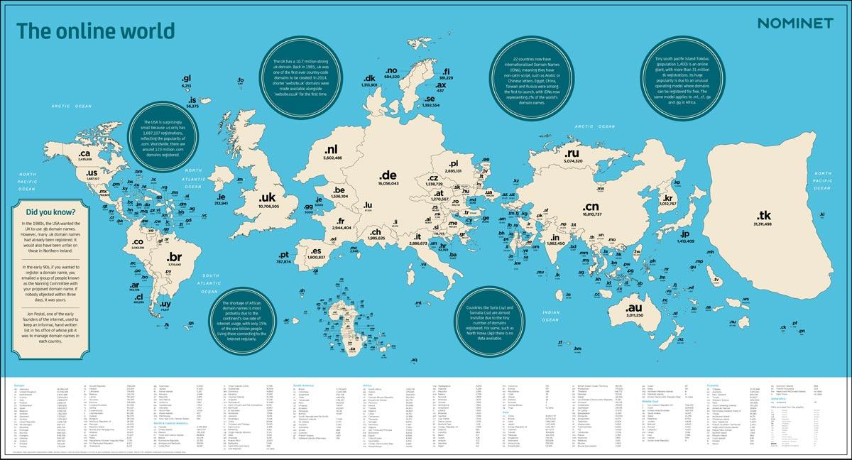 mappa geografica di Internet