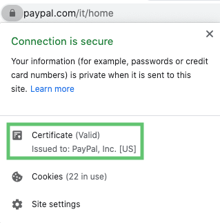 Chrome info ssl