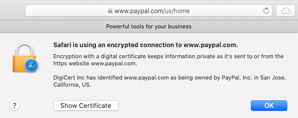Safari info ssl